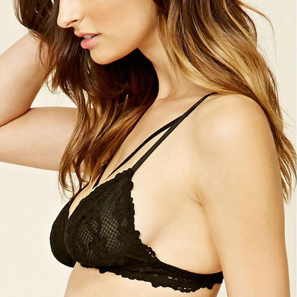 HDY Haoduoyi Black Fashion Women Intimates Sexy Deep V Push Up Lace Floral Bralette Women Soft Sweet Breathable Bras-INTIMATES-SheSimplyShops