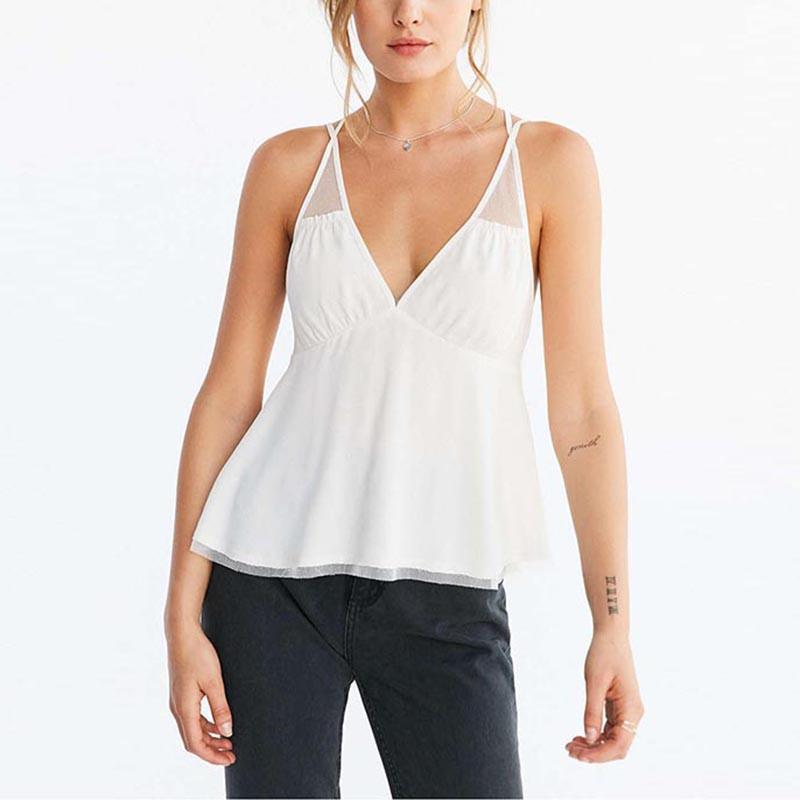 HDY Haoduoyi Summer Women Top White Ruffle Backless Mesh Stitch Chiffon Sheer T-shirt V Neck Sexy A-line Fashion Halter Vest-SHIRTS-SheSimplyShops