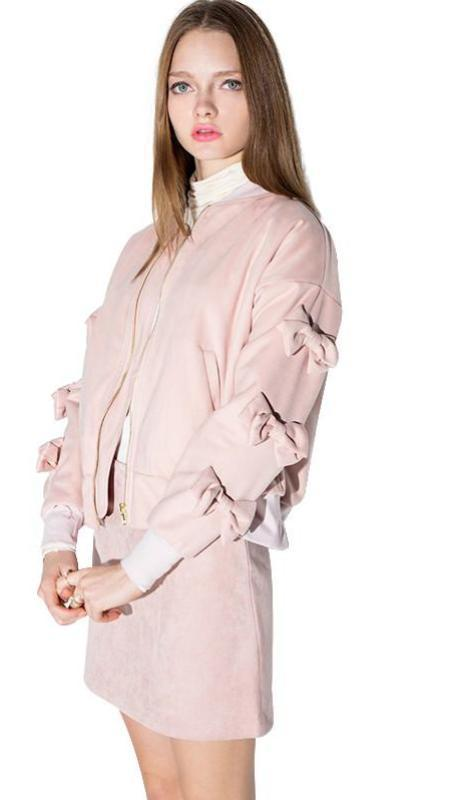 HDY Haoduoyi Bowknot Patchwork Ladies Outwears Retro Long Sleeve Bomber Jackets Women Autumn Zipper Casual Overcoats-Coats & Jackets-SheSimplyShops