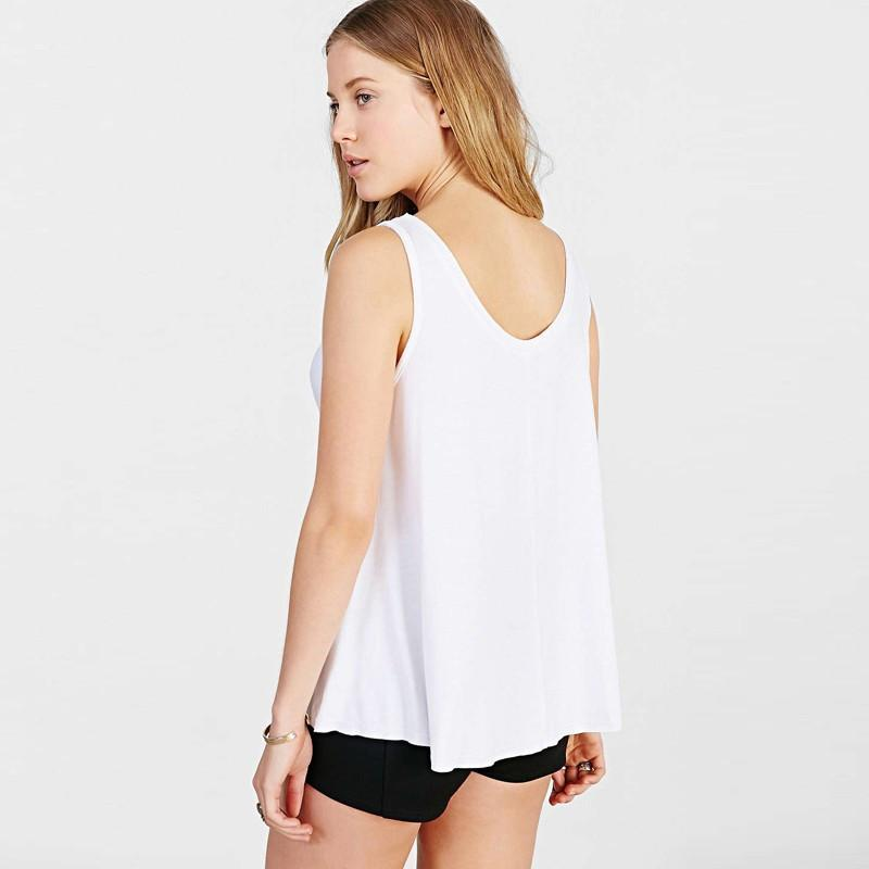 Fashion White Women Tanks Crew Neck Sleeveless Letter Printed Pullovers Tops Women Soft Loose Casual Basic Vests-Tanks-SheSimplyShops