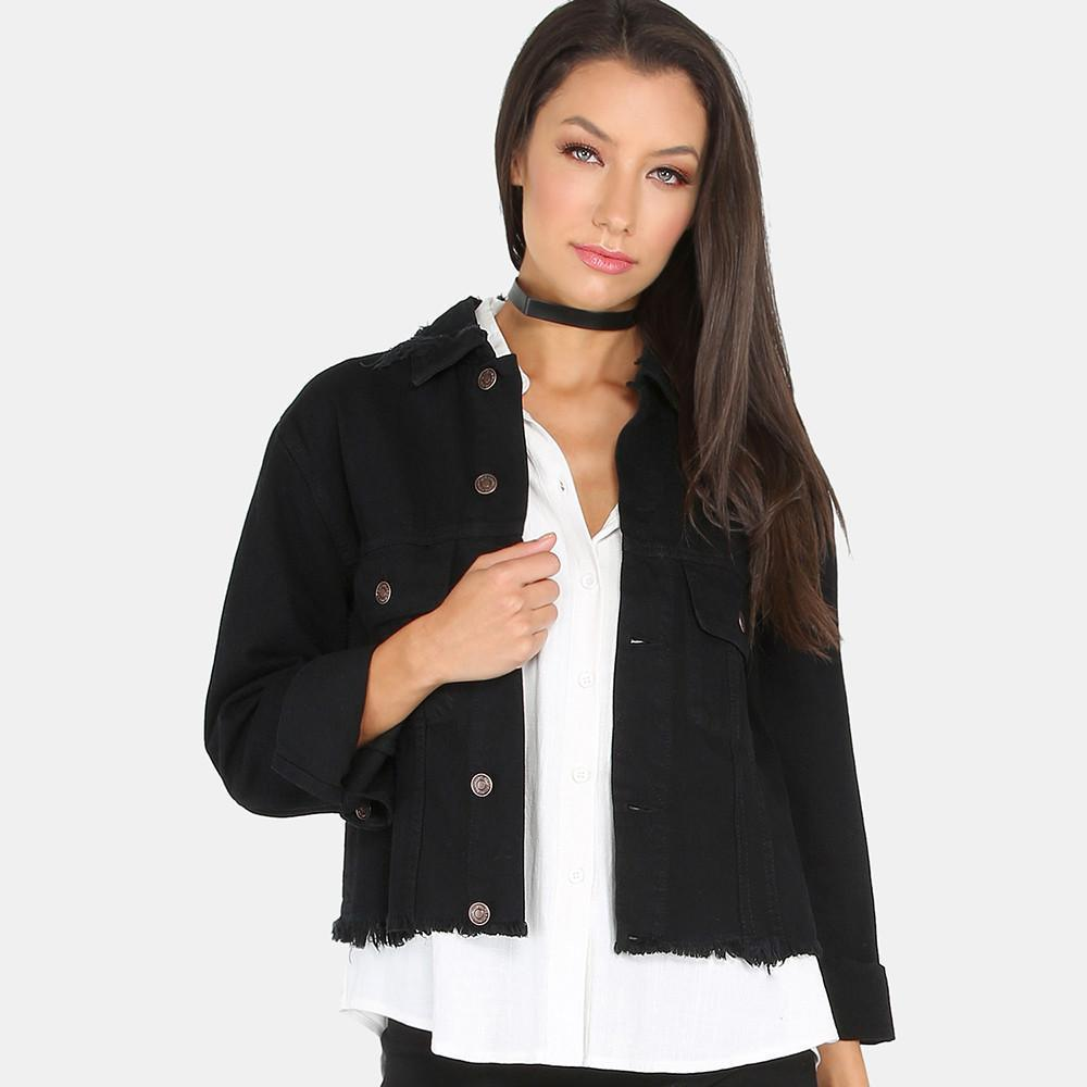 HDY Haoduoyi New Fashion Denim Coats Women Long Sleeve Turn-down Collar Female Short Outwear Street Slim Black Casual Coats-Coats & Jackets-SheSimplyShops