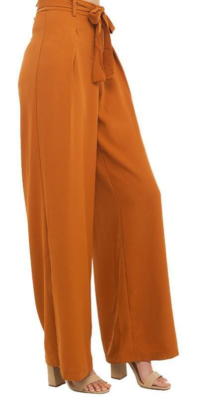 HDY Haoduoyi Fashion Drawstring Wide Leg Pants Women High Waist Slim Female Trousers Solid Orange Pleated Casual Pants-PANTS-SheSimplyShops