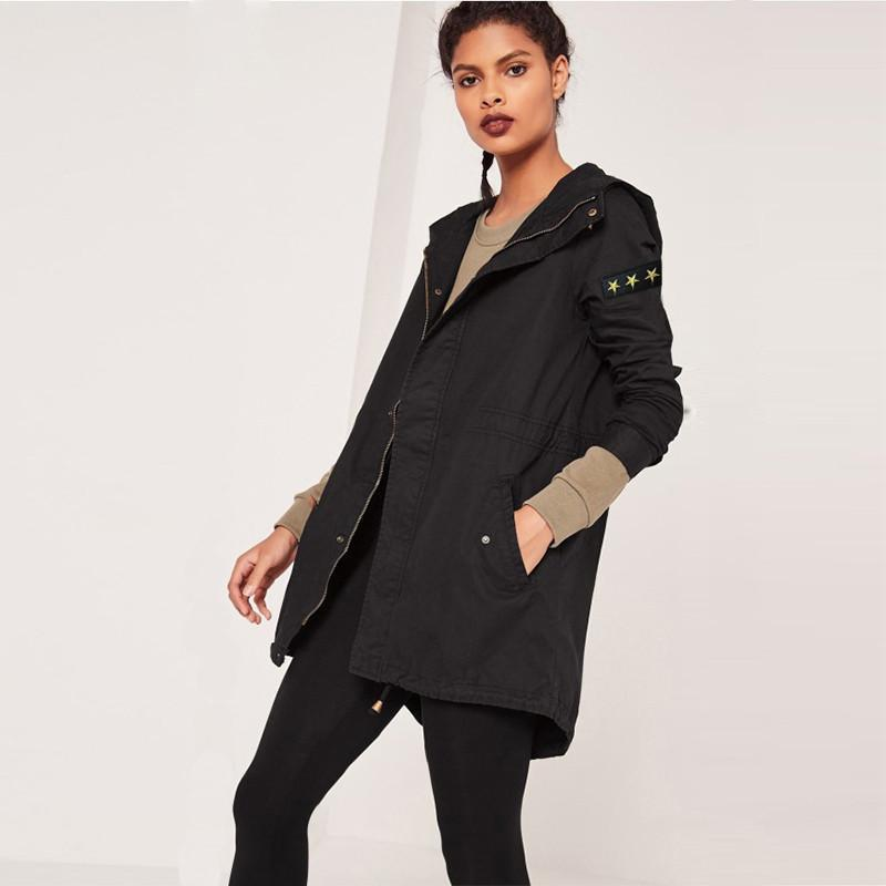 HDY Haoduoyi Fashion Slim Zippers Coats Women Long Sleeve Female Hooded Outwear Turn-down Collar Solid Casual Trench Coats-Coats & Jackets-SheSimplyShops
