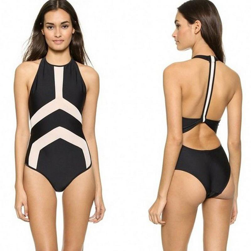 Solid High Neck One Piece Swimsuit-SWIMWEAR-SheSimplyShops