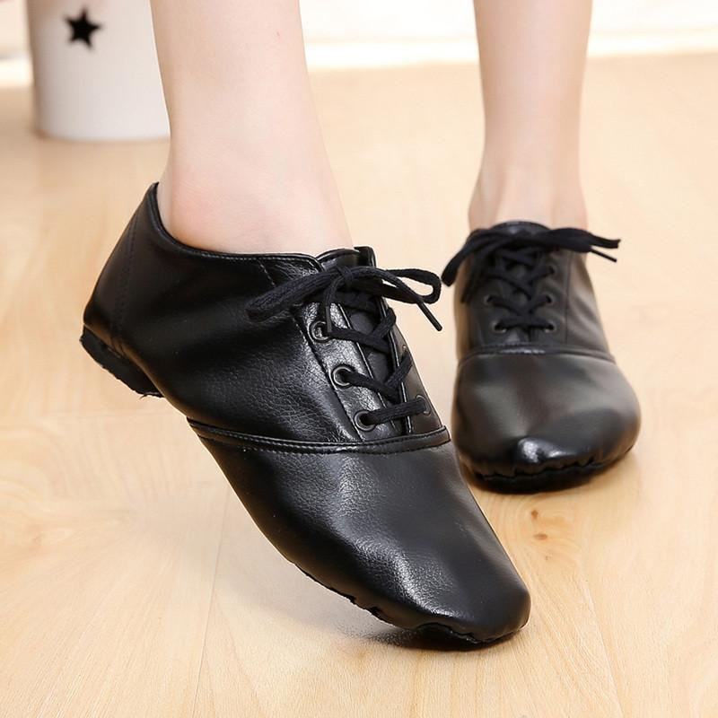 Teenagers Woman's PU Leather Jazz Dance Shoes Lace Up Boots Practice Yoga Shoes Soft and Light Jazz Boots Hip-hop Sneakers-BOOTS-SheSimplyShops