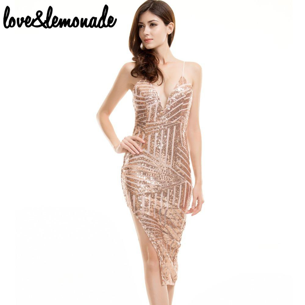 Golden Geometric Sequined Party Dress-Dress-SheSimplyShops