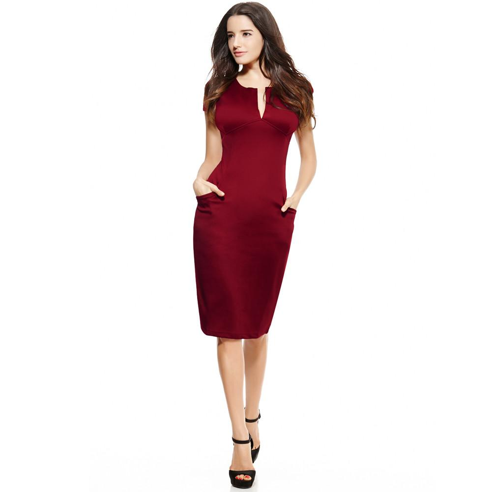 Sexy Fashion Women Pencil Dress Sleeve Puff Plunge V-Neck Pocket Slim Body con Midi Office Dress Women Work Party Wear-Dress-SheSimplyShops