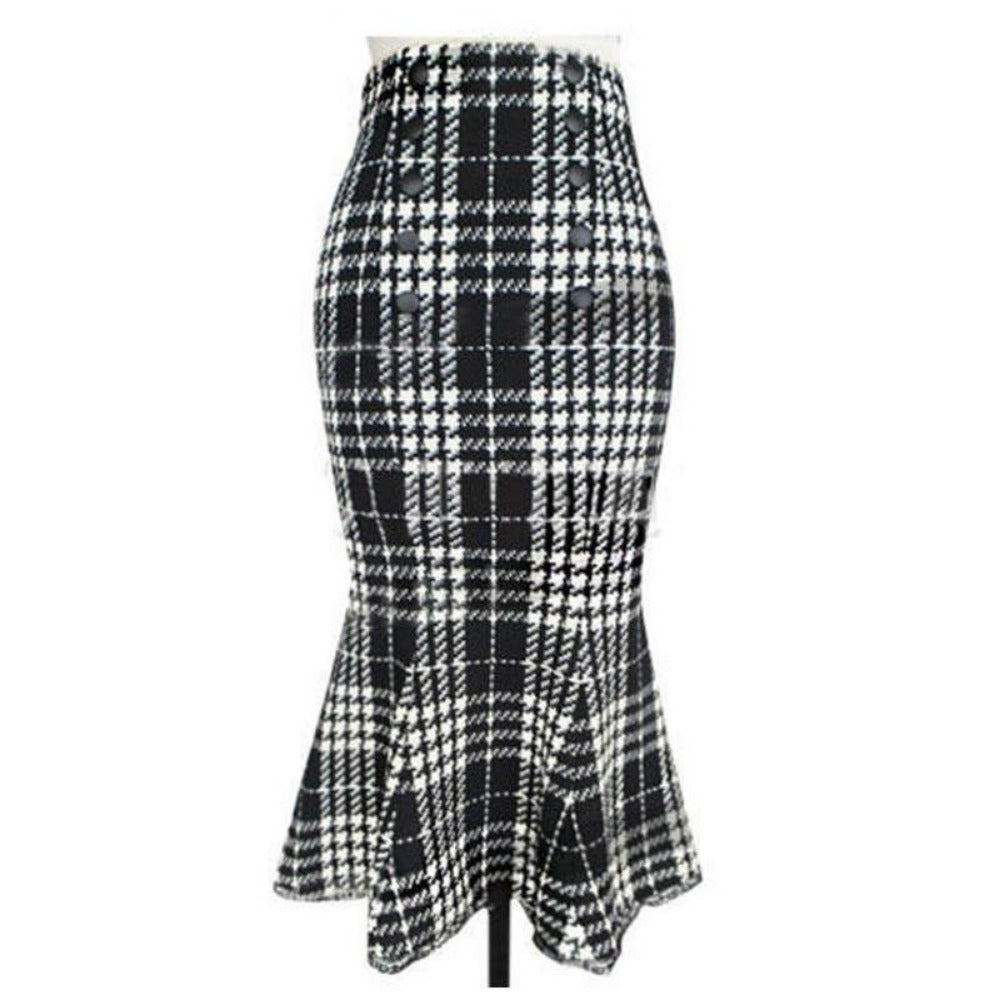 Women Skirts Double Breasted Decoration Empire Package Hip Plaid Print Mermaid Pencil Skirt-Dress-SheSimplyShops