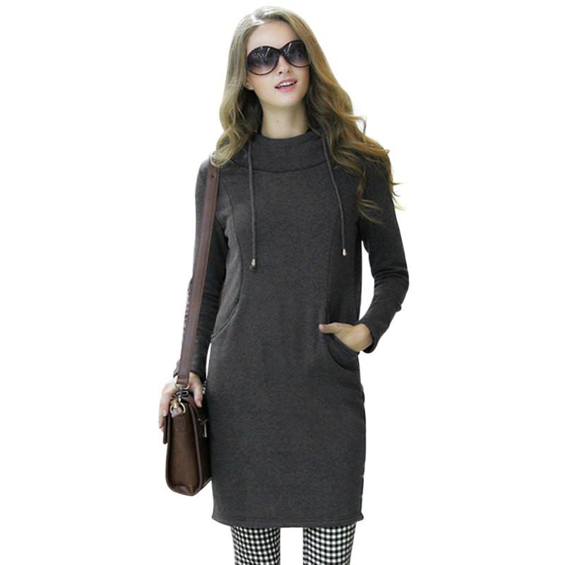 Autumn Winter Plus Size Women Hoodies Dress European Style Casual Straight Hooded Long Sleeve Pocket Solid Dresses-Dress-SheSimplyShops