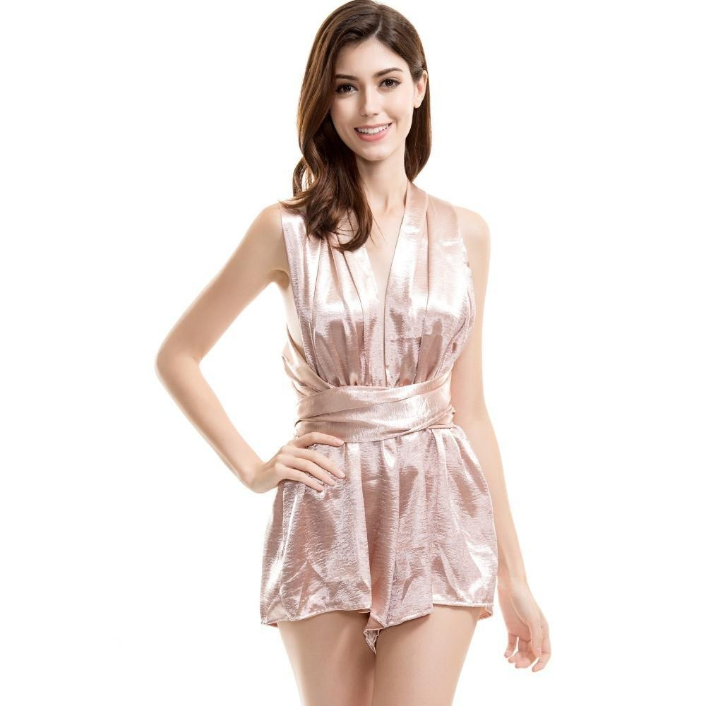 Sexy Halter Changeable Jumpsuits Nude/Black-ROMPERS & JUMPSUITS-SheSimplyShops