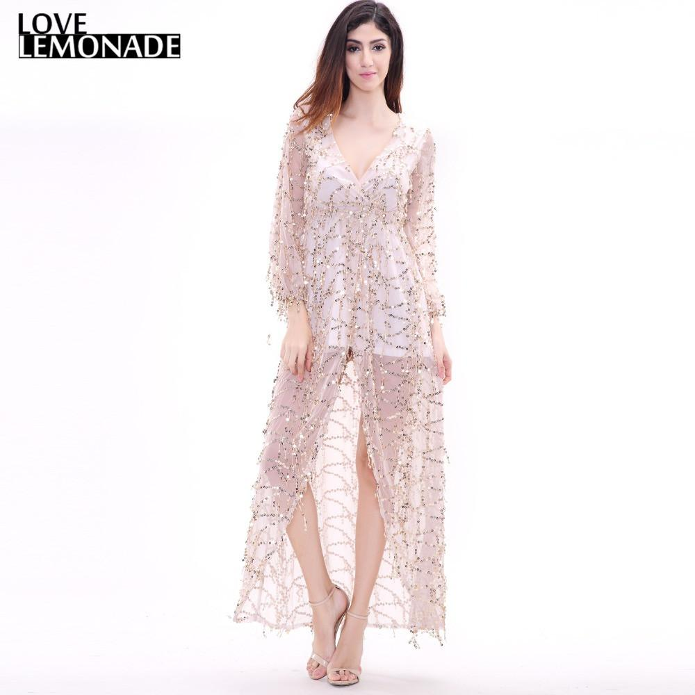 NEW Sexy Gold Sequined Fringed V-Neck Maxi Dress-Dress-SheSimplyShops