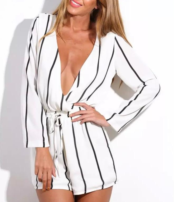 Striped Long Sleeve V Neck Romper-ROMPERS & JUMPSUITS-SheSimplyShops
