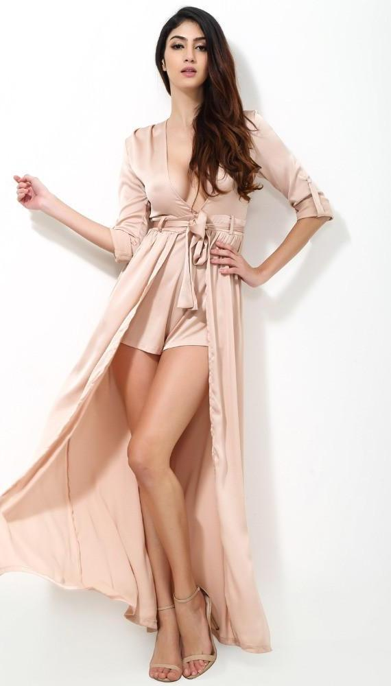 Fashion Nude Color Flash Fabric Long Sleeve Jumpsuits-ROMPERS & JUMPSUITS-SheSimplyShops