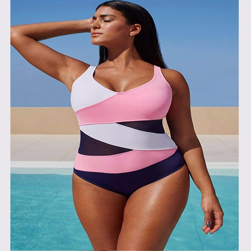 S-3XL Plus Size Swimwear New One Piece Swimsuit Women Bathing Suit Beachwear Padded Large Size Swim Wear Bodysuits-BODYSUITS-SheSimplyShops