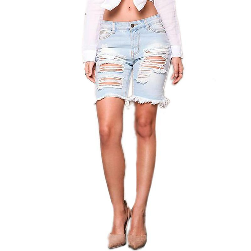 Summer New Womens Denim Street Shorts Beggar Hole Ripped Jeans Shorts Ladies Short Jeans For Women Denim Shorts-JEANS-SheSimplyShops