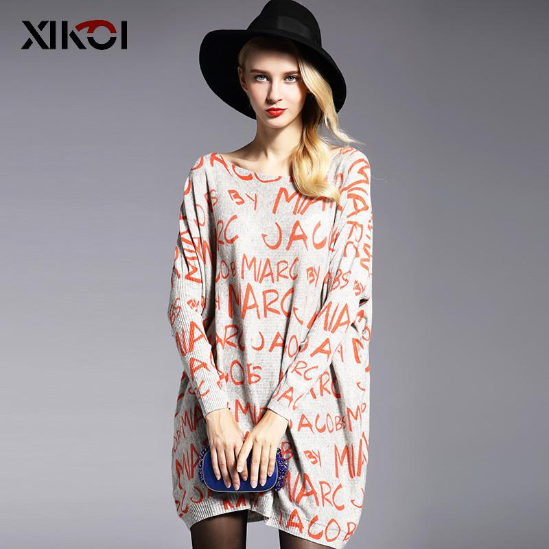 New Autumn Casual Long Women Sweater Coat Batwing Sleeve Print Women's Sweaters Clothes Pullovers Fashion Pullover Clothing-Coats & Jackets-SheSimplyShops