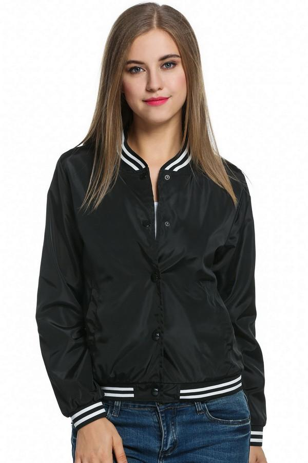 Ladies Bomber Jackets Fashion and Retro Baseball coat for women Students Ribbed Cuffs Solid Color Feminina Basic Outwear-Coats & Jackets-SheSimplyShops
