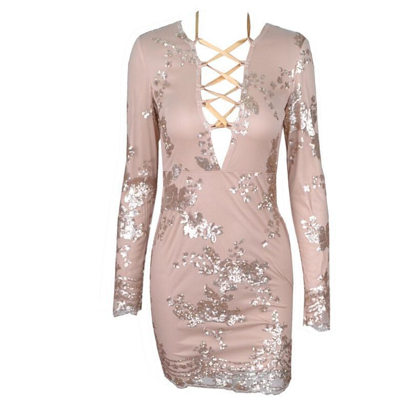 Gold Sequin Flower Print Bandage Dress Party-Dress-SheSimplyShops