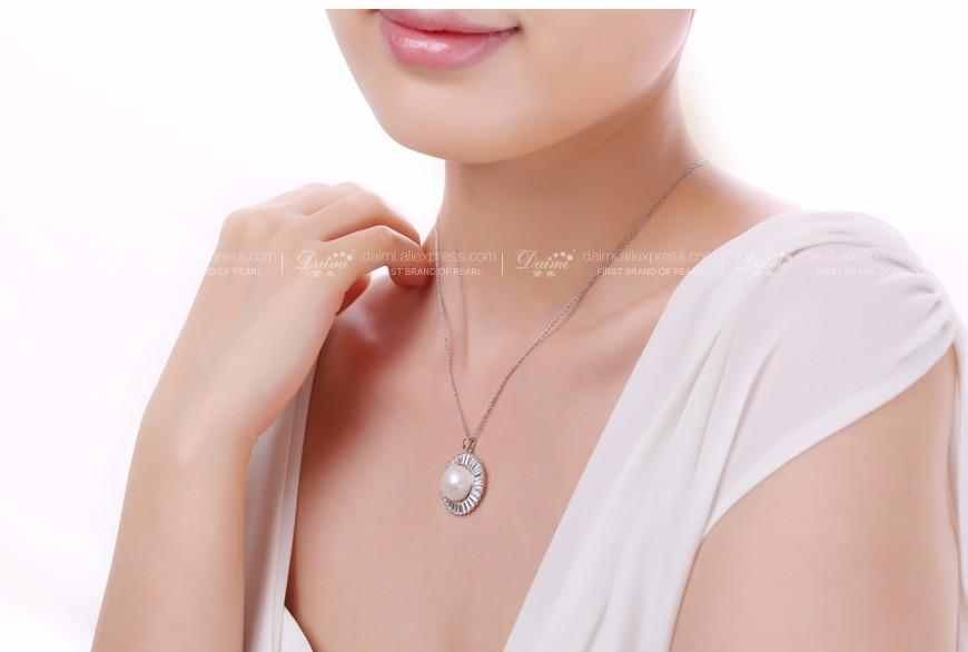 Natural White Pearl Tendy Pendant Huge Pearl & Shinny Crystal Freshwater Pearl Pendant Necklace-NECKLACES-SheSimplyShops