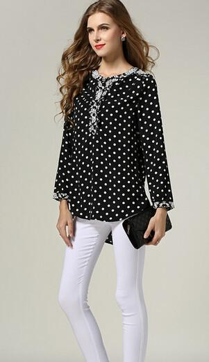Women Polka Dot Asymmetrical Blouse Long Sleeve Cotton Blusas Work wear Office Shirts Autumn casual Tops-Blouse-SheSimplyShops