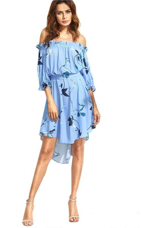 Multi color Floral Print Off The Shoulder High Low Half Sleeve Belted Loose Straight Dress-Dress-SheSimplyShops