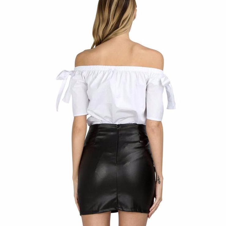 Women Skirt Fashion Cross Lace Up Skirts Womens High Waist PU Leather Pencil Skirt-Dress-SheSimplyShops