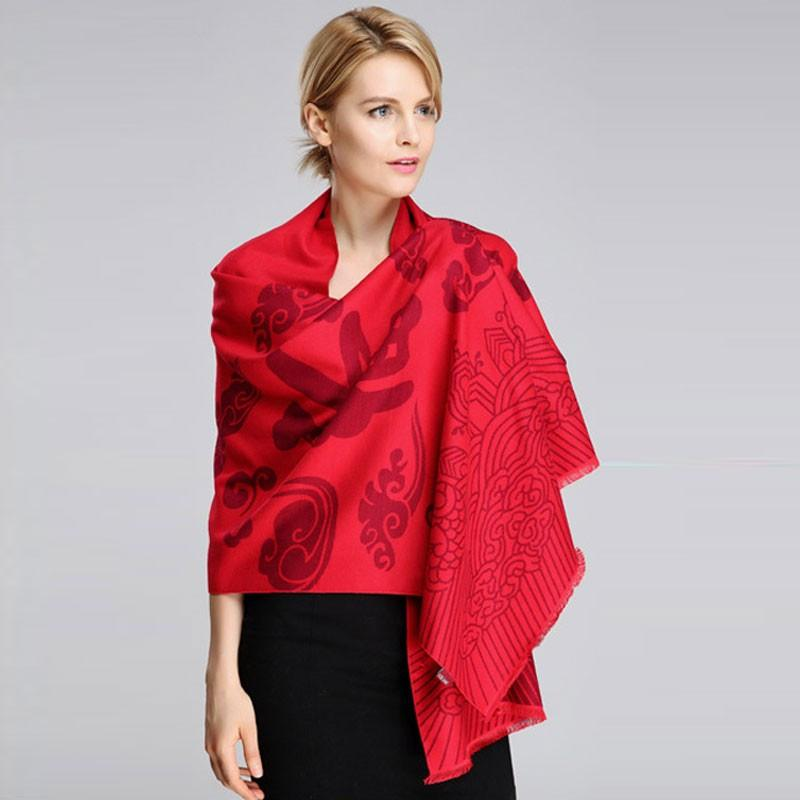 Knitted Thick Cashmere Winter Scarf Chinese Style Red Scarf Women Long Tassel Autumn Shawl Soft Fashion Wrap-SCARVES-SheSimplyShops