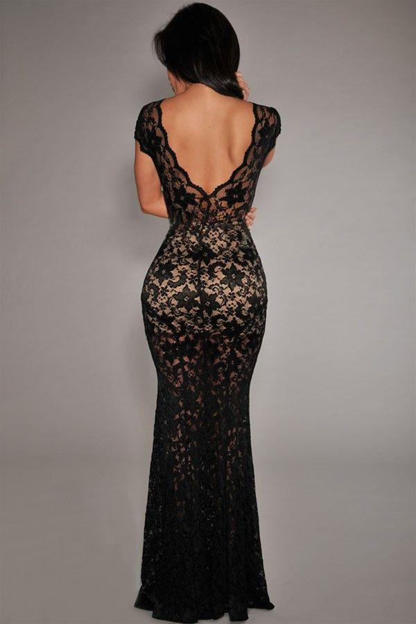 Vintage Orchid Lace Nude Illusion V-neck Low Back Sexy Party Gowns Dress-Dress-SheSimplyShops