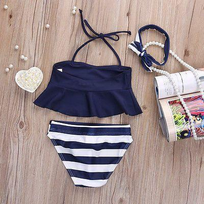Baby Girl Swimwear Two Pieces bikini Navy Tops Striped Swimsuit Swimwear Bathing Clothes baby swimming suit High Quality-Tops-SheSimplyShops