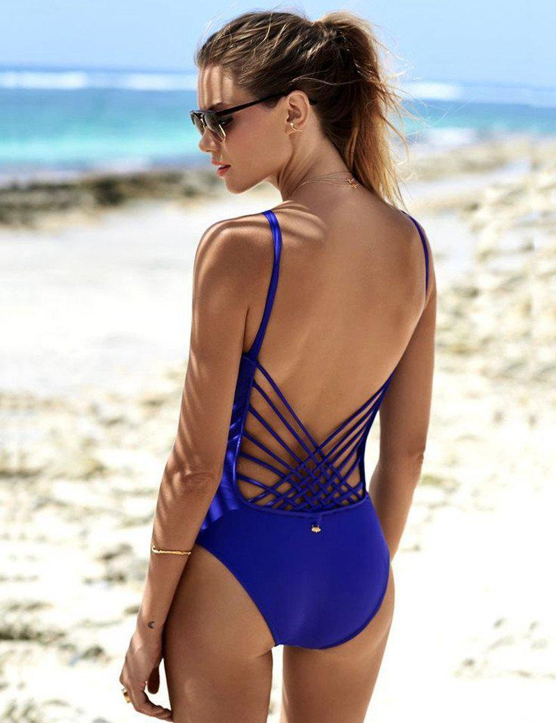 New blue bandage one piece swimsuit cross bandage one piece swimwear backless slimming bathing suit v-neck monokini-SWIMWEAR-SheSimplyShops