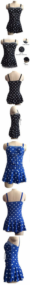 Dots Print Swimwear Women Two Piece Plus Size Swimsuit Vintage Retro Bathing Suit Skirt Swimsuit-SKIRTS-SheSimplyShops