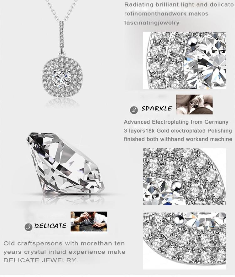 LZESHINE New Bride Round Pendants & Necklaces /Trendy Earrings Fashion Jewelry Set Silver Plate AAA Zirconia Women Set CST0042-B-EARRINGS-SheSimplyShops