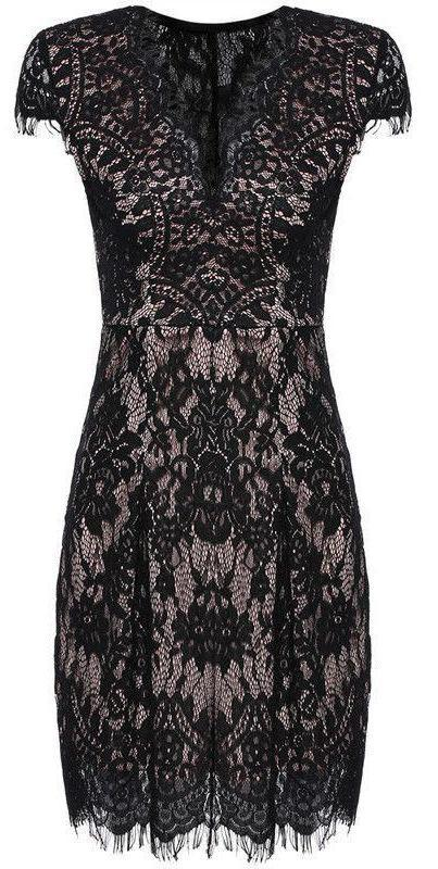 COLROVIE Black Bodycon Vestidos Summer Dresses Sexy Girls Cap Sleeve Deep V Neck Elegant Women Above Knee Lace Dress-Dress-SheSimplyShops