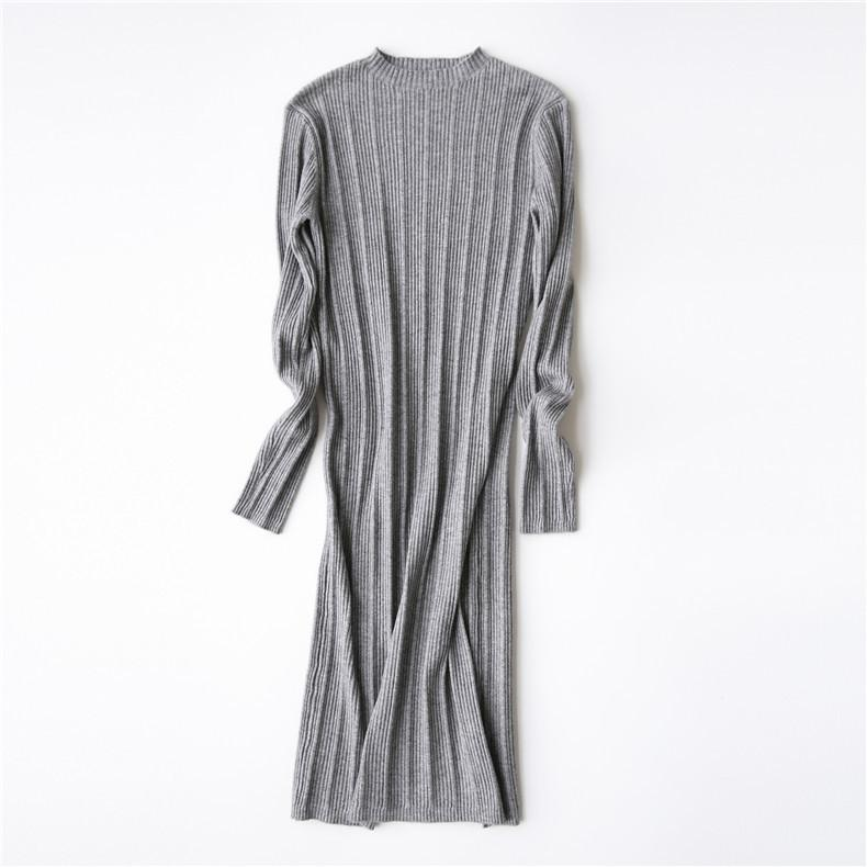 Spring fashion women brief solid color basic elegant long sleeve knitted sweater dress vestidos-Dress-SheSimplyShops