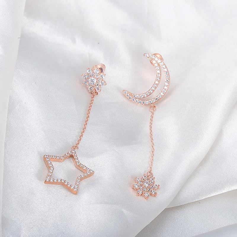 LZESHINE New Cute Star and Moon Flower Pendant Earrings Rose Gold Plate Zirconia Long Earrings Luxury Wedding Bands CER0508-EARRINGS-SheSimplyShops
