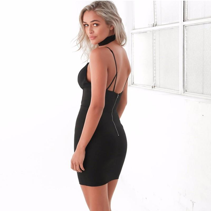 HDY Haoduoyi Summer Women Fashion Solid Black Shaping Dress Sexy Bodycon V Neck Backless Spaghetti Strap Dress-Dress-SheSimplyShops