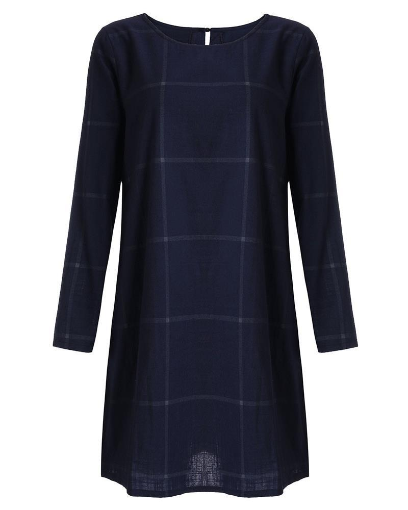 Zanzea Autumn Fashion Women Faux Linen Cotton Loose Casual Dresses Vintage Plaid Checked Shirt Dress Vestidos Femininas-Dress-SheSimplyShops