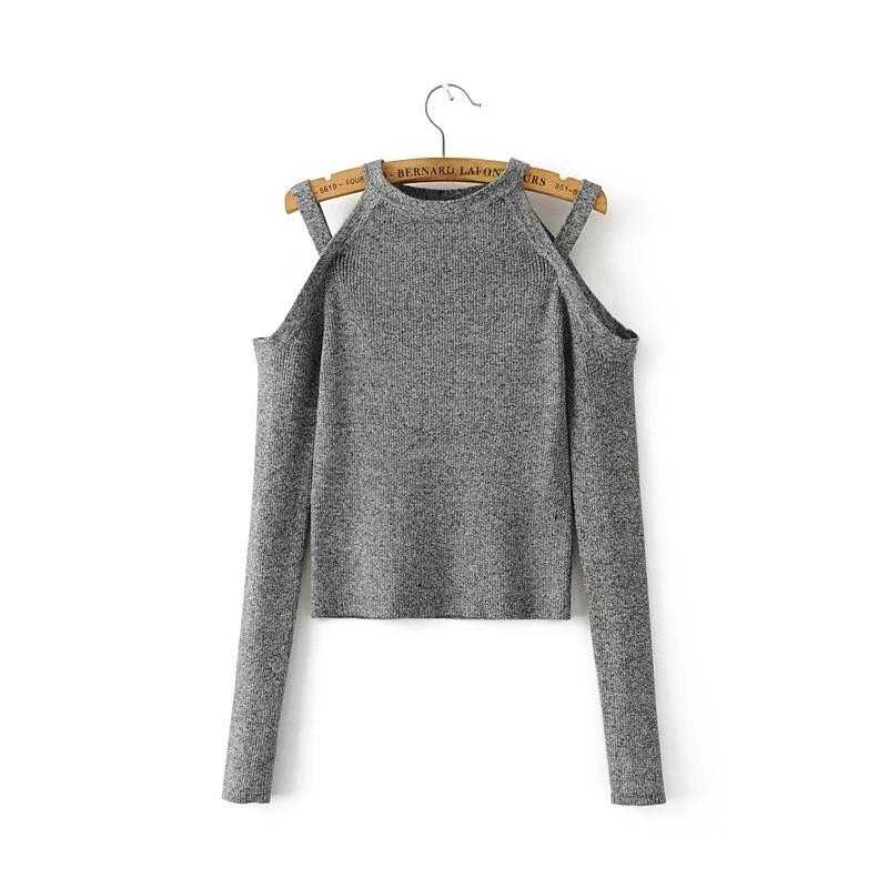 Spring new women's fashion sexy Strapless big sweater coat-Coats & Jackets-SheSimplyShops