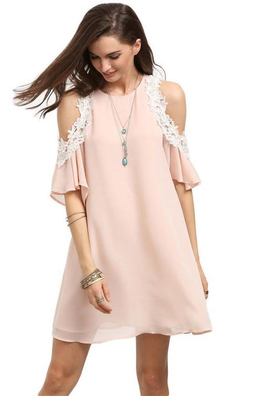 Pink Cold Shoulder Round Neck Half Sleeve Appliques Shift Mini Dress Cute Summer Women Short Dress-Dress-SheSimplyShops