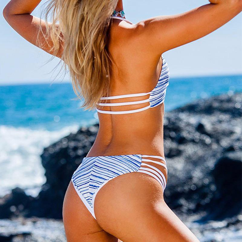 New High Neck Bikini Women Swimsuit Swimwear Bandage Cut Out Bikini Set Print Summer Beach Bathing Suit-Bottoms-SheSimplyShops