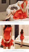 New Summer Casual Fashion Women Mini Cute Dress Orange Black Sleeveless Vintage Multilayer Party Work Dresses Vestidos Sexy-Dress-SheSimplyShops