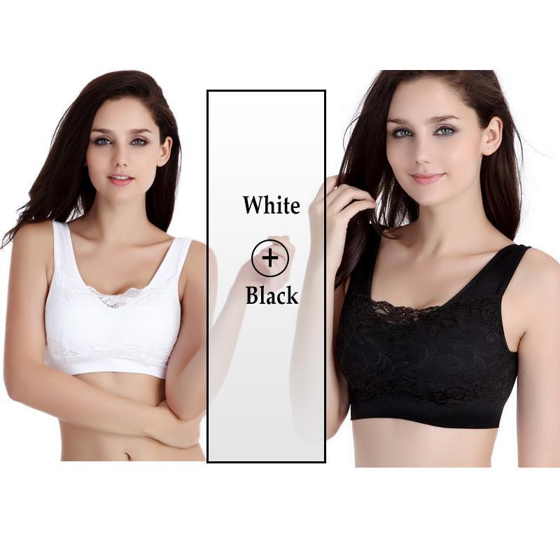 Two Pieces Women Sexy Lace Bra Wirefree Padded Push Up Bra Sleep Breathable Crop Top Casual Bra For Women Lace Bralette-Tops-SheSimplyShops
