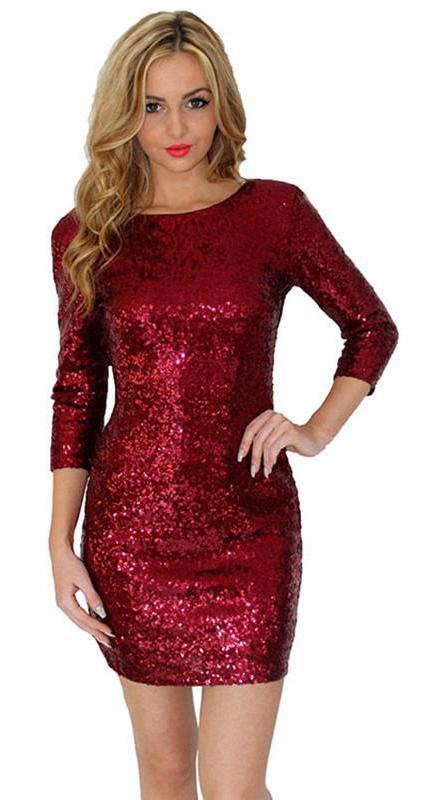 Sequined Long Sleeve Bodycon Dress-Dress-SheSimplyShops