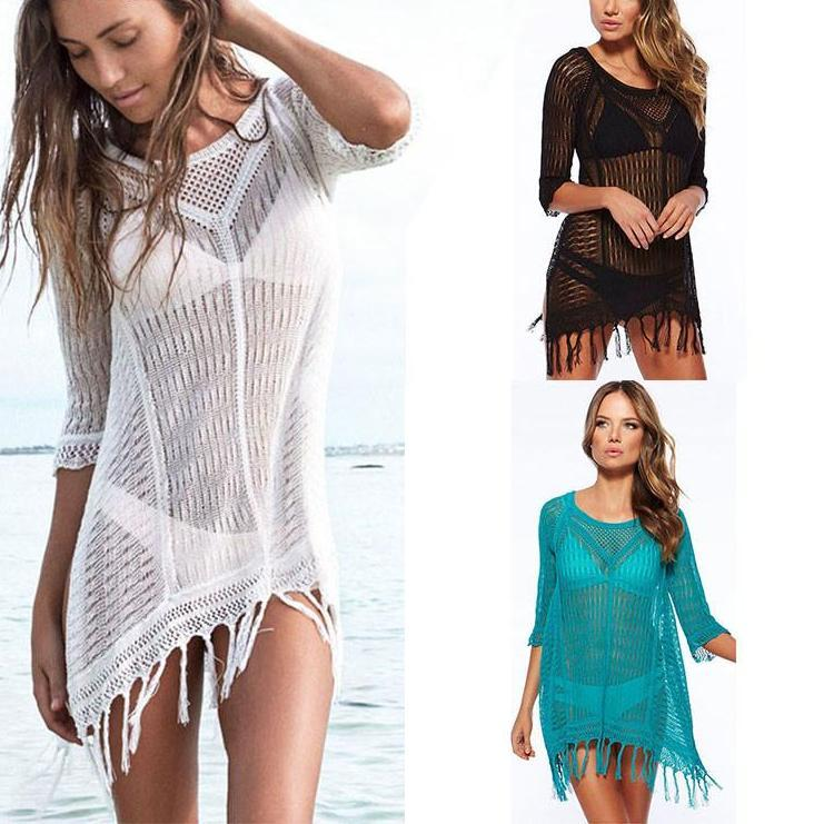 Sexy Bathing Suit Cover Ups Women Swimwear New Beach Lace Cover Ups Swimsuit Summer Cotton V-Neck Women Beachwear-Dress-SheSimplyShops