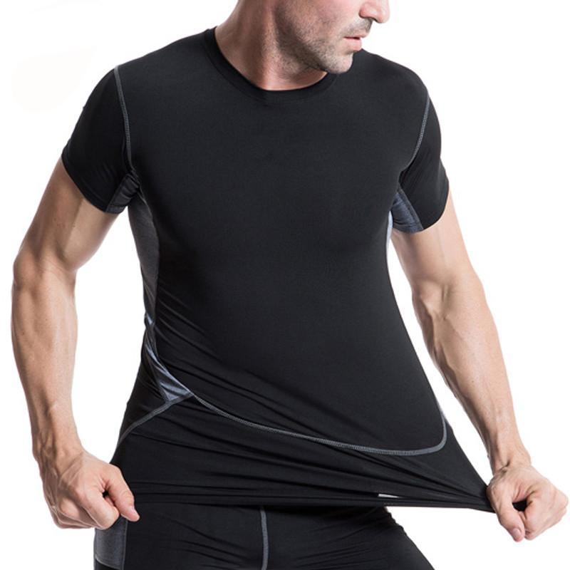 YEL Elastic Man's T-Shirt Quick Dry Tights Fitness Sportswear Gym Training Sportswear Cycling Short Yoga Running T Shirt Men-ACTIVEWEAR-SheSimplyShops