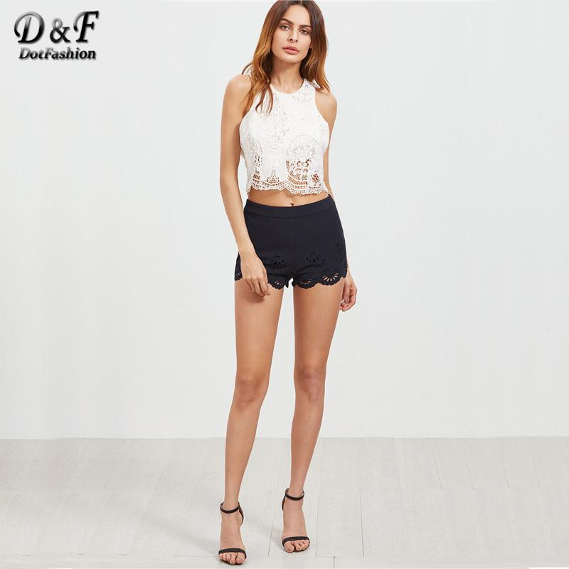Summer Shorts Women Designer Shorts for Women Street wear Navy Laser Cutout Mini Shorts-PANTS-SheSimplyShops