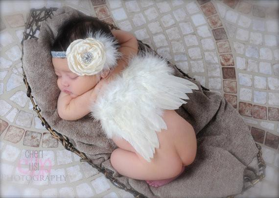Angel feather wings baby girl flower headband hair head bands photo shoot accessories for newborns hairband Photography props-ACCESSORIES-SheSimplyShops