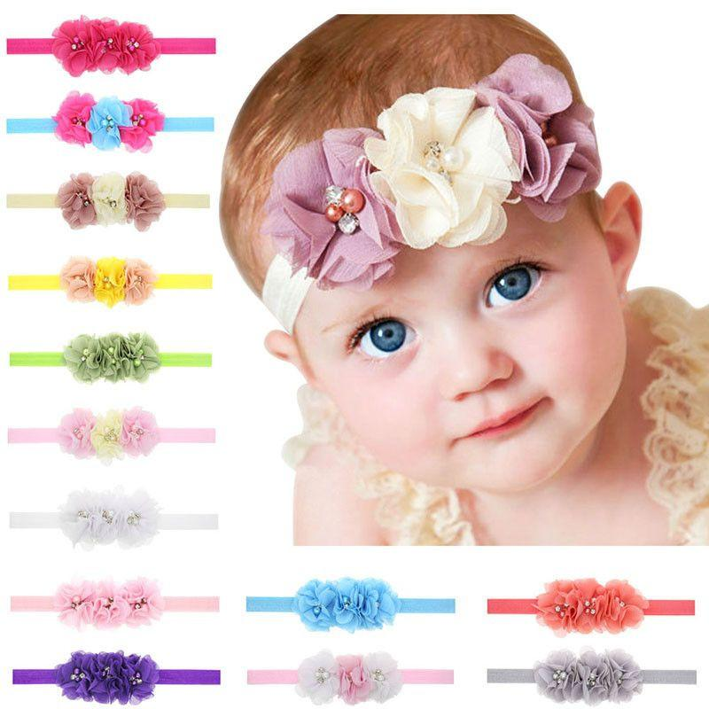 1Pc Newborn Baby Headband With 3 Flower Pearl Diamond Hair Bands Baby Girls Headbands Elasticity Kids Hair Accessories-ACCESSORIES-SheSimplyShops