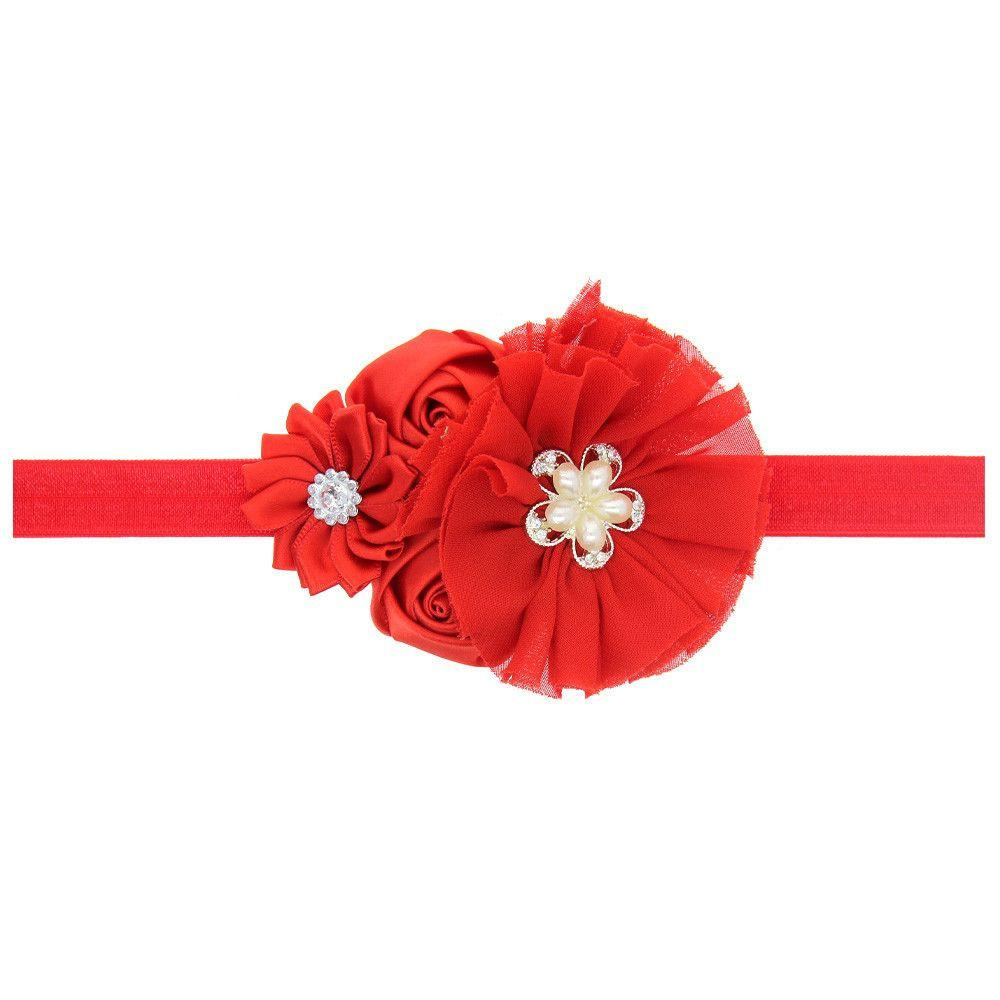 A happy Christmas baby headband newborn baby girl chiffon rose diamond flower hair bands elastic hair accessories-ACCESSORIES-SheSimplyShops