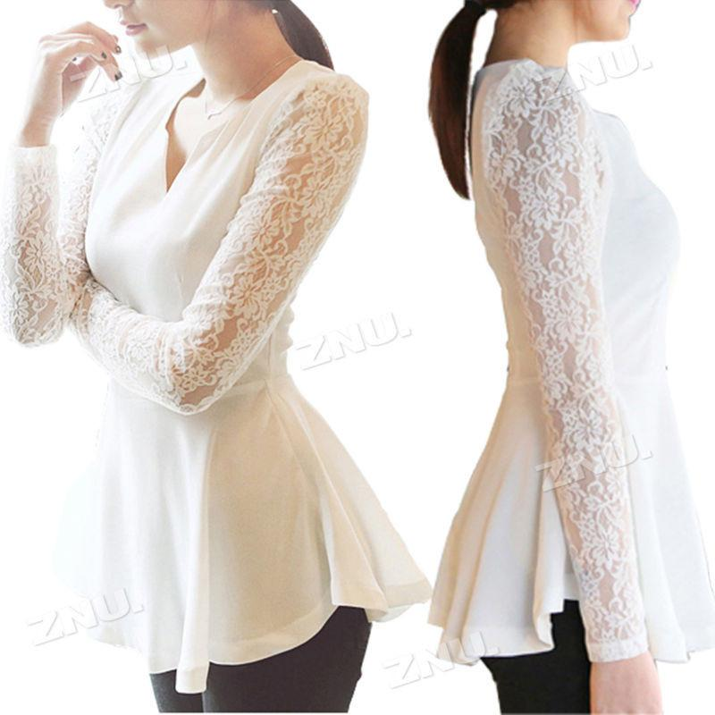 Sexy Lace Sleeve Peplum Blouse-Blouse-SheSimplyShops